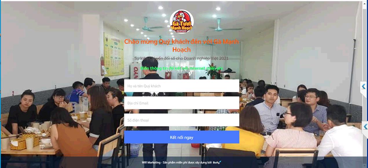 Cài đặt Wifi Marketing miễn phí cho chuỗi nhà hàng để tiếp cận khách hàng hiệu quả