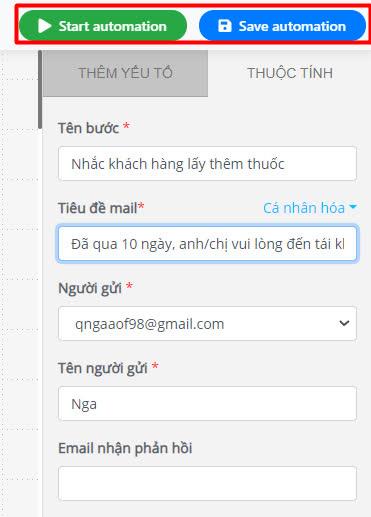 Gửi email chăm sóc khách hàng nhắc gia hạn liệu trình thuốc