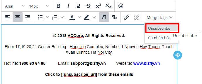 Cách thêm nút Unsubscribe trong email gửi đi
