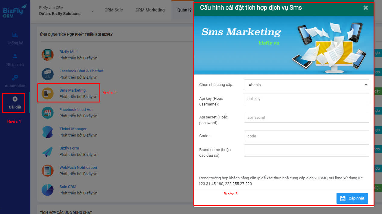 Bizfly CRM update phiên bản mới: Mở rộng thêm lựa chọn kết nối tổng đài và kênh SMS Marketing