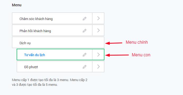 Bizfly Chat Update phiên bản mới: Hỗ trợ hiển thị Menu chính theo Ver.8 của Facebook.