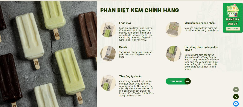 Thiết kế website Kem Tràng Tiền của Bizfly