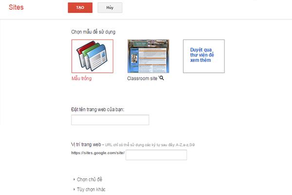 cách tạo web miễn phí trên google