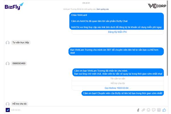 Minh họa cách nhắn tin cho khách hàng từ fanpage bizfly