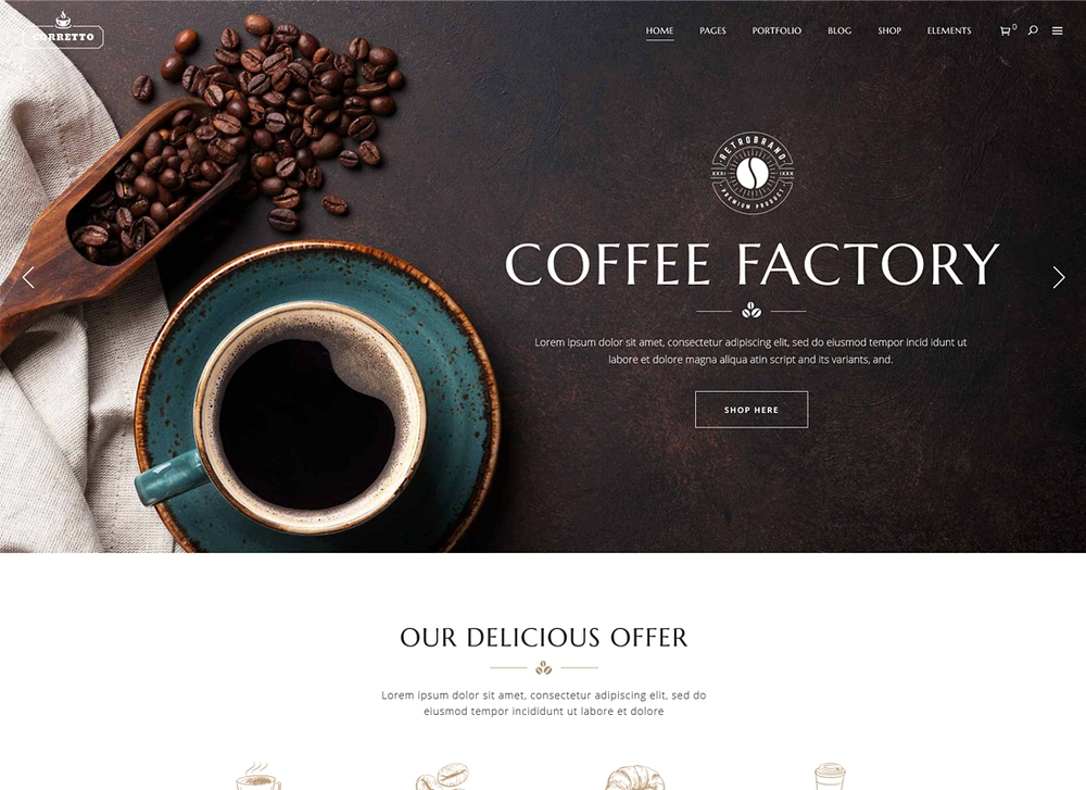 Mẫu thiết kế website nhà hàng Coffee Factory