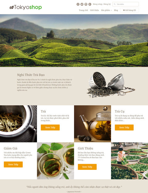 Mẫu thiết kế website nhà hàng Tokyoshop