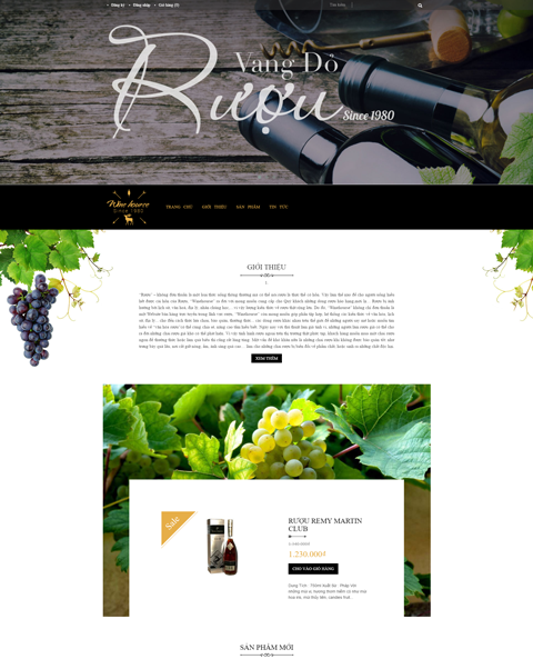 Mẫu thiết kế website nhà hàng ấn tượng Winehourse