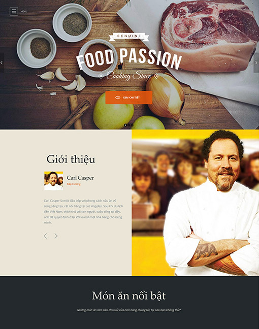 Mẫu thiết kế website nhà hàng Gourmet