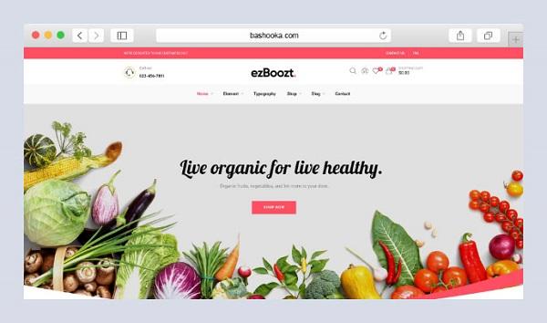 mẫu thiết kế website thực phẩm sạch, hoa quả