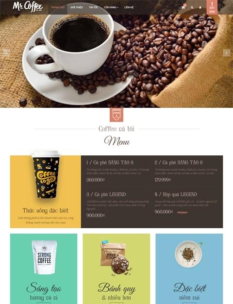 Mẫu thiết kế website nhà hàng Coffee and You