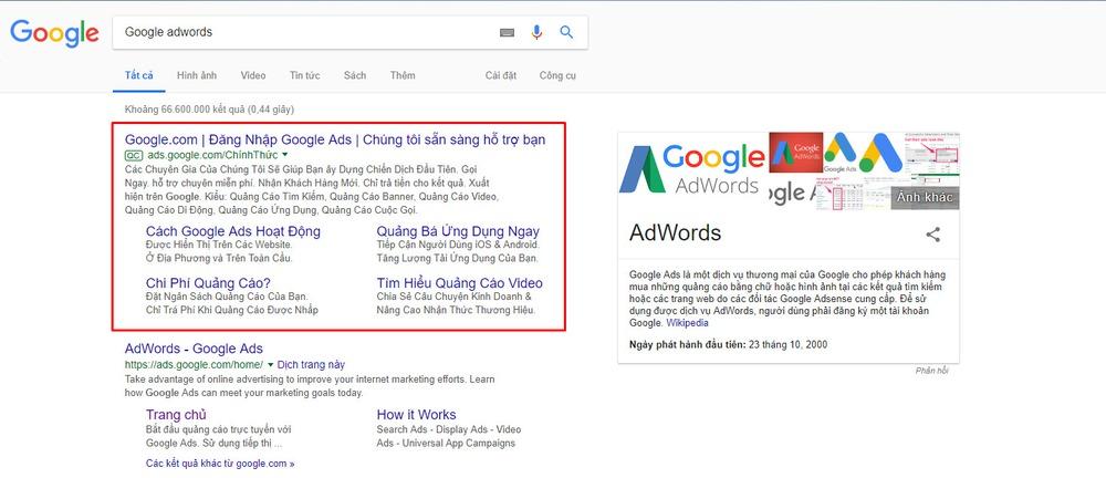 Chạy quảng cáo Google Adword cũng là cách quảng cáo website hiệu quả