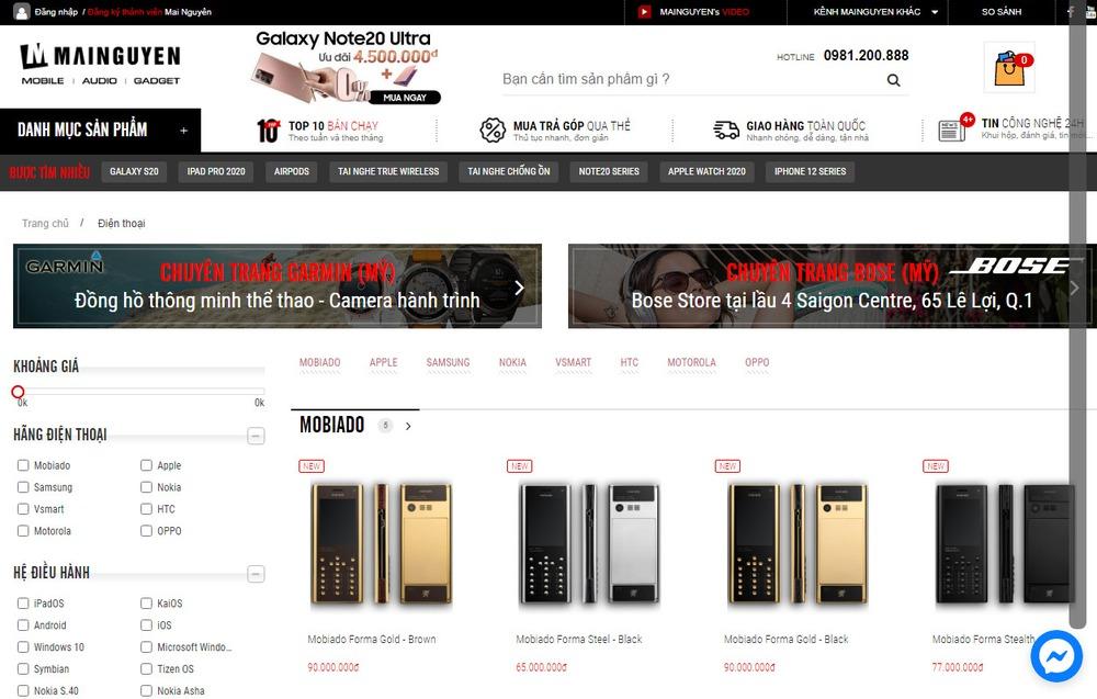 Các mẫu thiết kế website bán điện thoại nổi bật