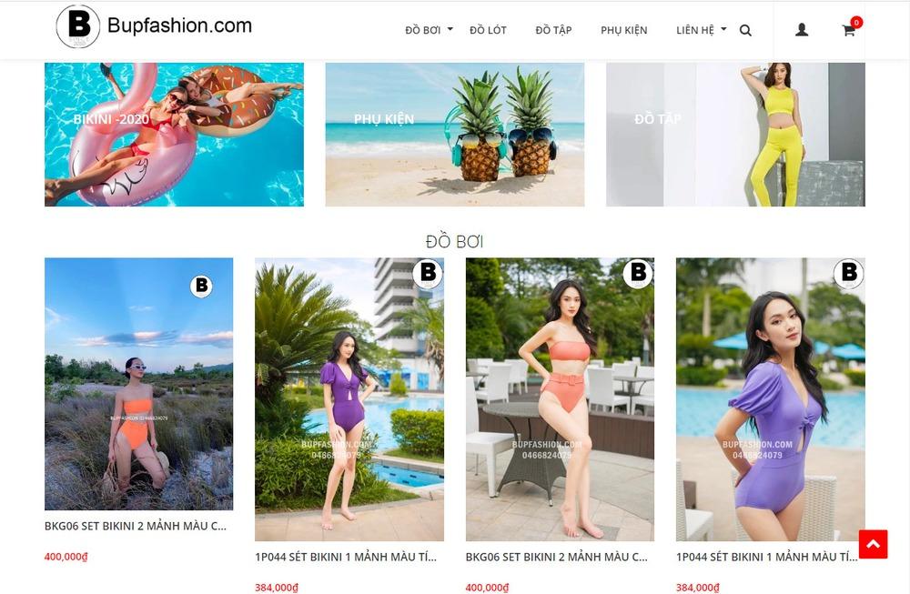 Một số mẫu thiết kế website bán áo tắm, bikini