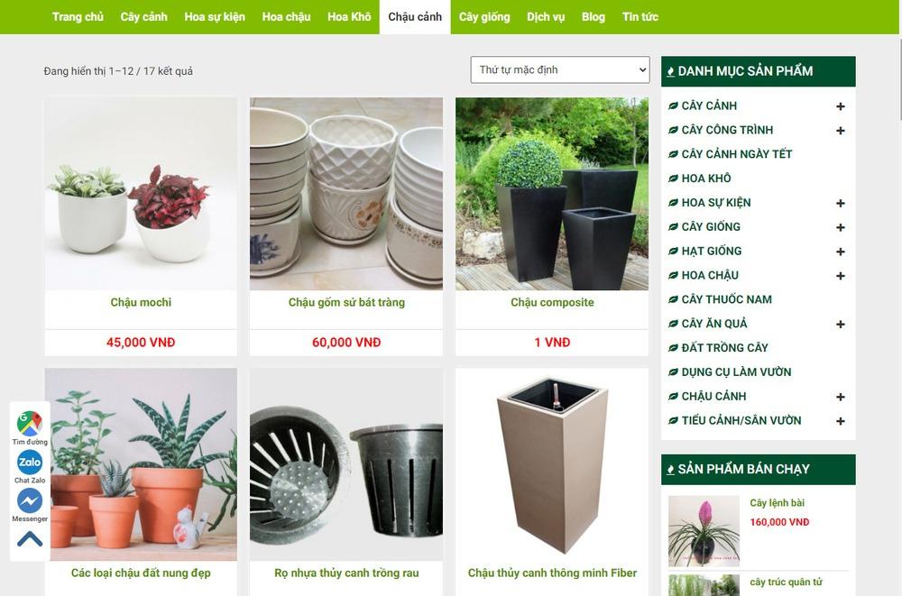 Thiết kế website bán cây cảnh tại Bizfly