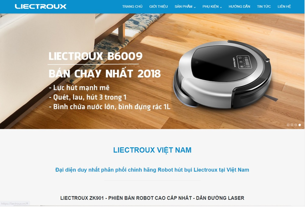 Mẫu thiết kế website robot hút bụi Liectroux