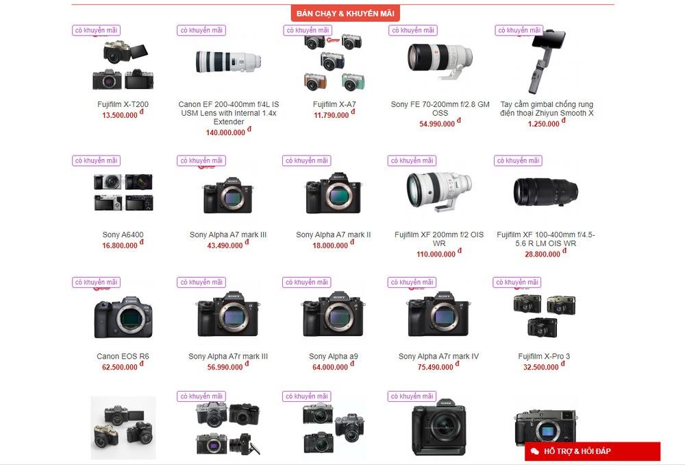 thiết kế website bán máy ảnh chuyên nghiệp