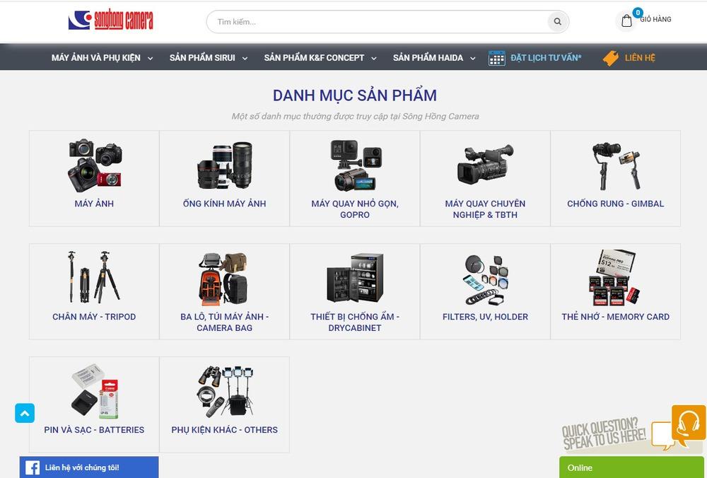 thiết kế website bán máy ảnh tại Bizfly
