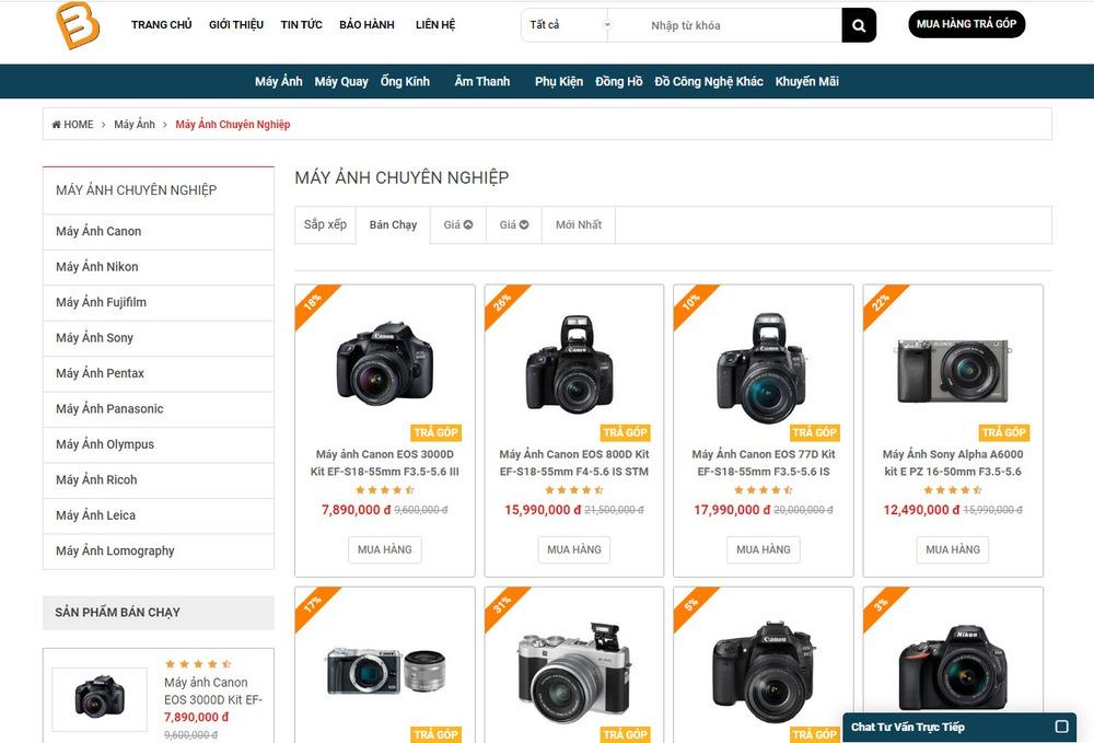 mẫu thiết kế website bán máy ảnh nổi bật