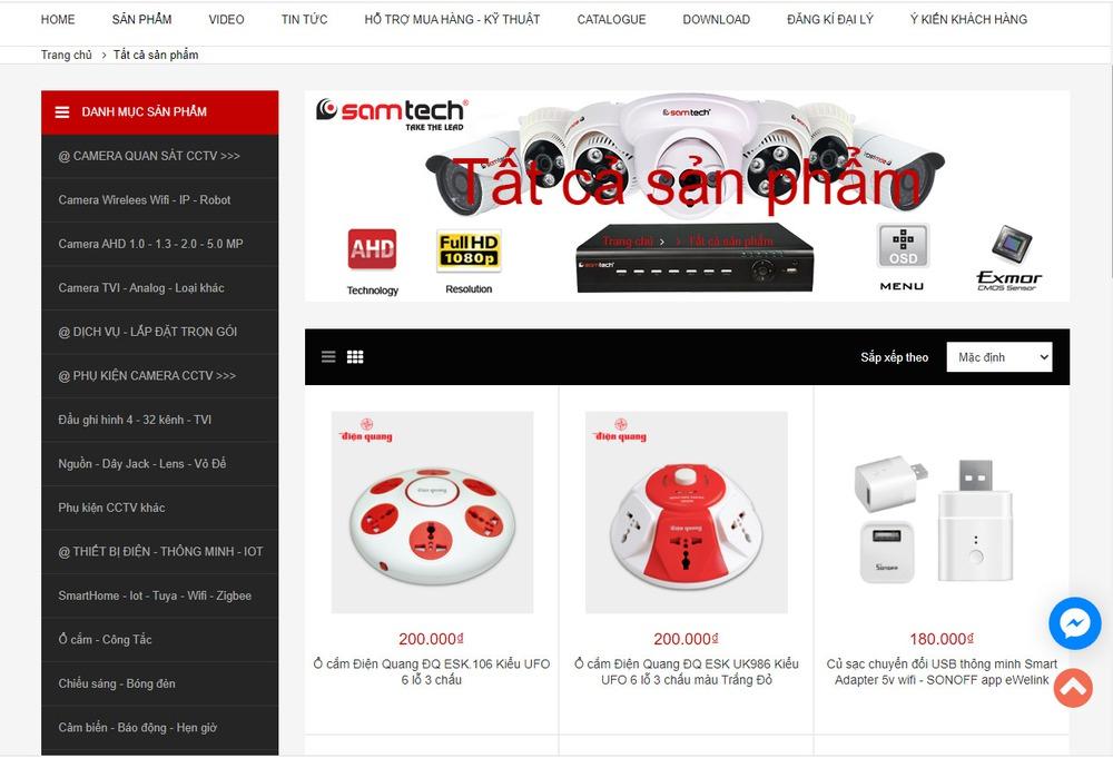 Mẫu thiết kế website bán camera chất lượng
