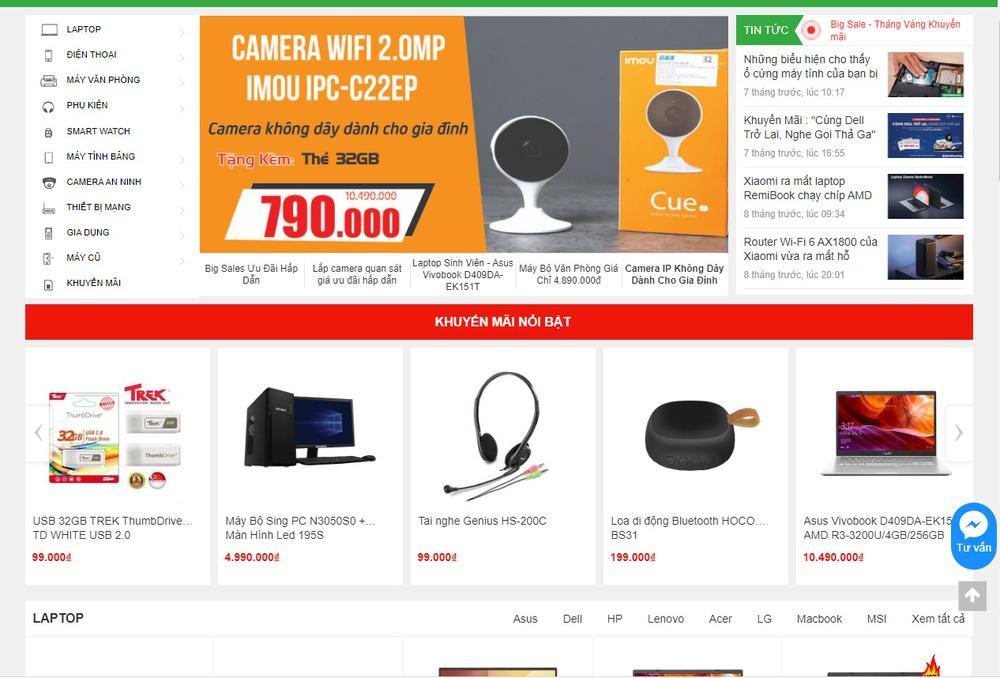 Mẫu thiết kế website bán camera, thiết bị giám sát