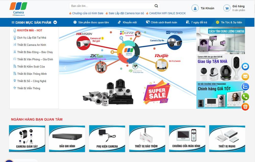 Mẫu thiết kế website bán camera, giám sát