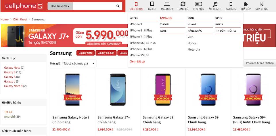 trang web thương mại điện tử