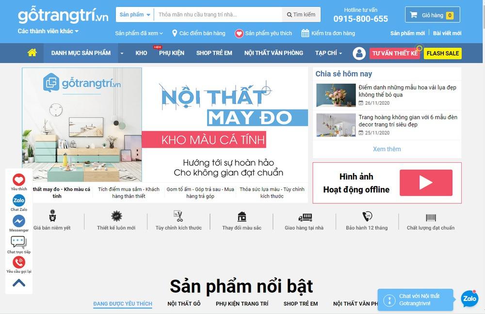 trang web bán đồ nội thất chuyên nghiệp