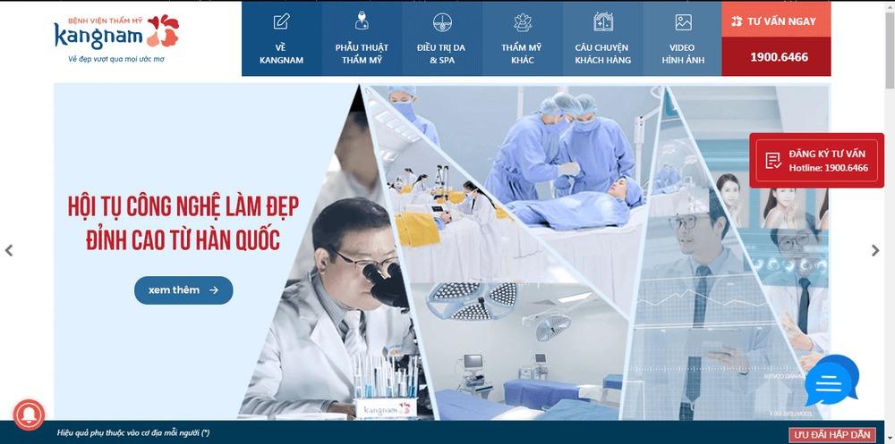Mẫu thiết kế website bệnh viện Kangnam