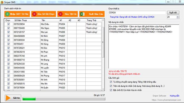Ứng dụng gửi tin nhắn hàng loạt SMS Sniper