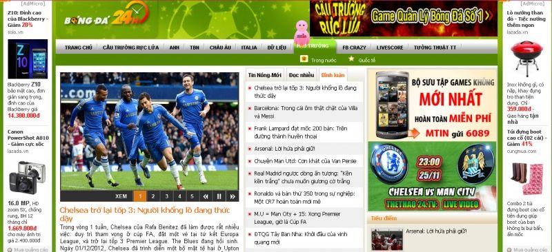 trang web bóng đá hay nhất