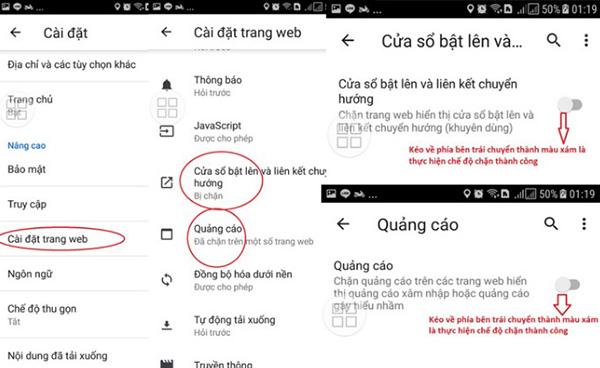 Hướng dẫn cách chặn quảng cáo Chrome bằng menu setting Chrome trên điện thoại