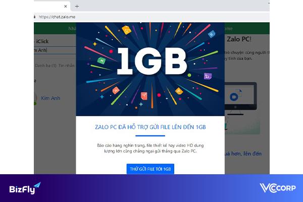 Zalo hỗ trợ người dùng gửi file video dung lượng lớn