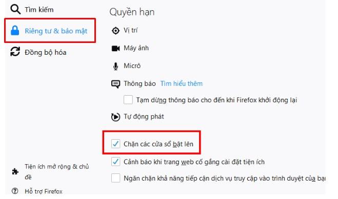 Cách chặn quảng cáo tự bật lên trên Firefox