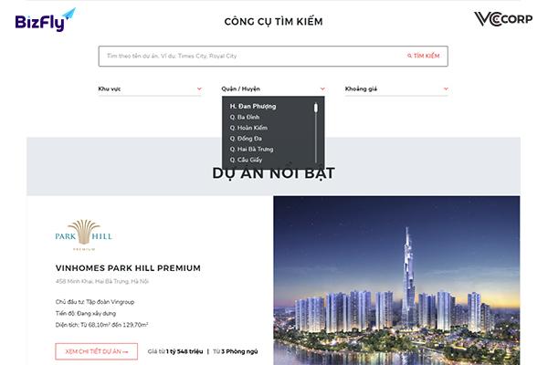 thiết kế web bất động sản tại BizFlyWeb