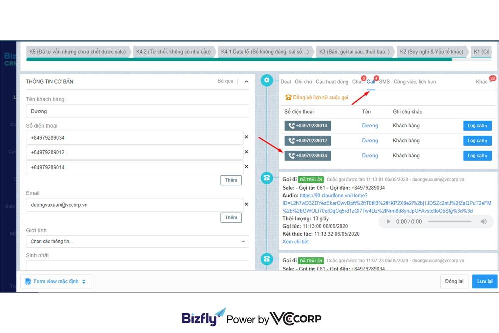 Bizfly CRM Call Center cho telesale bất động sản